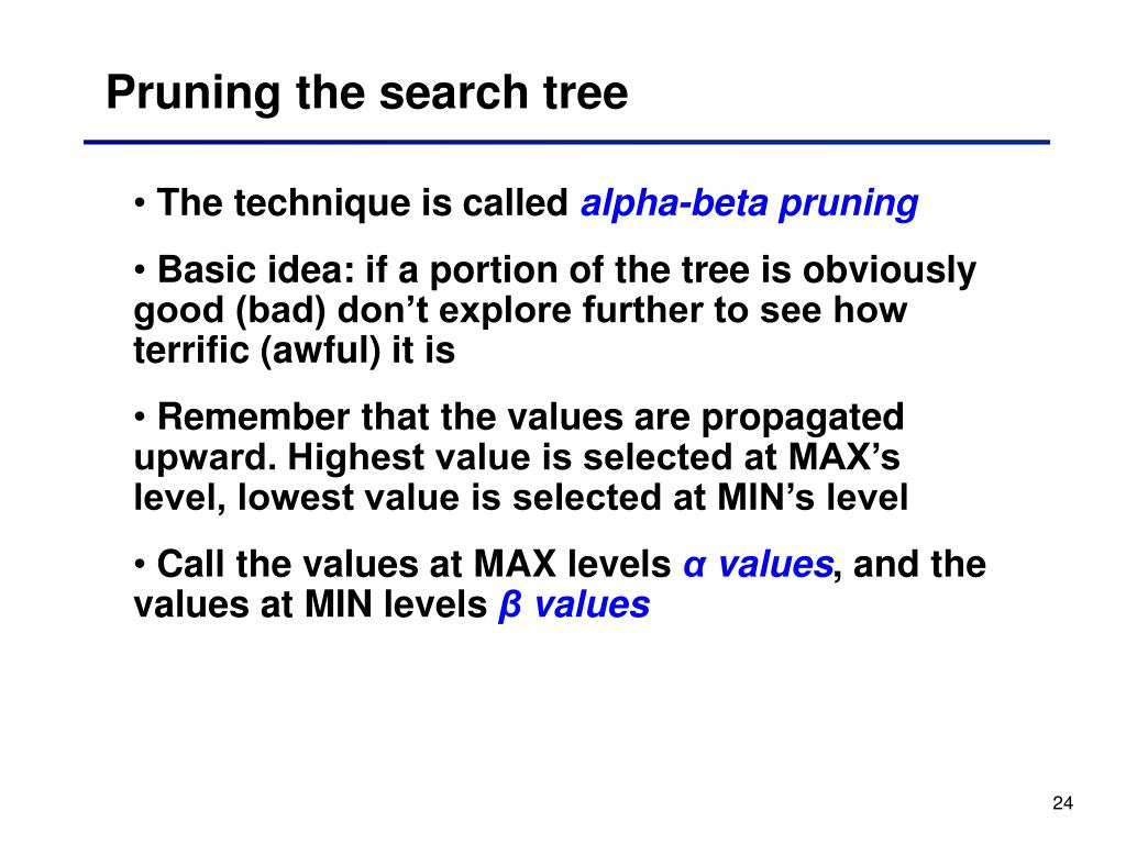 Pruning the search tree