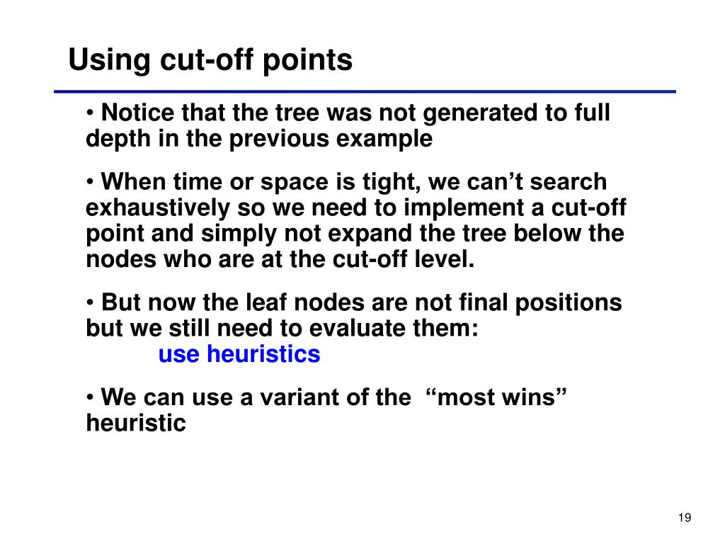Using cut-off points
