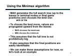 using the minimax algorithm