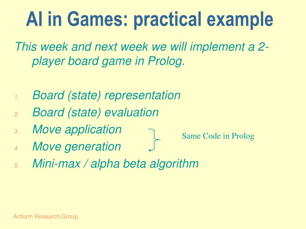 AI in Games: practical example