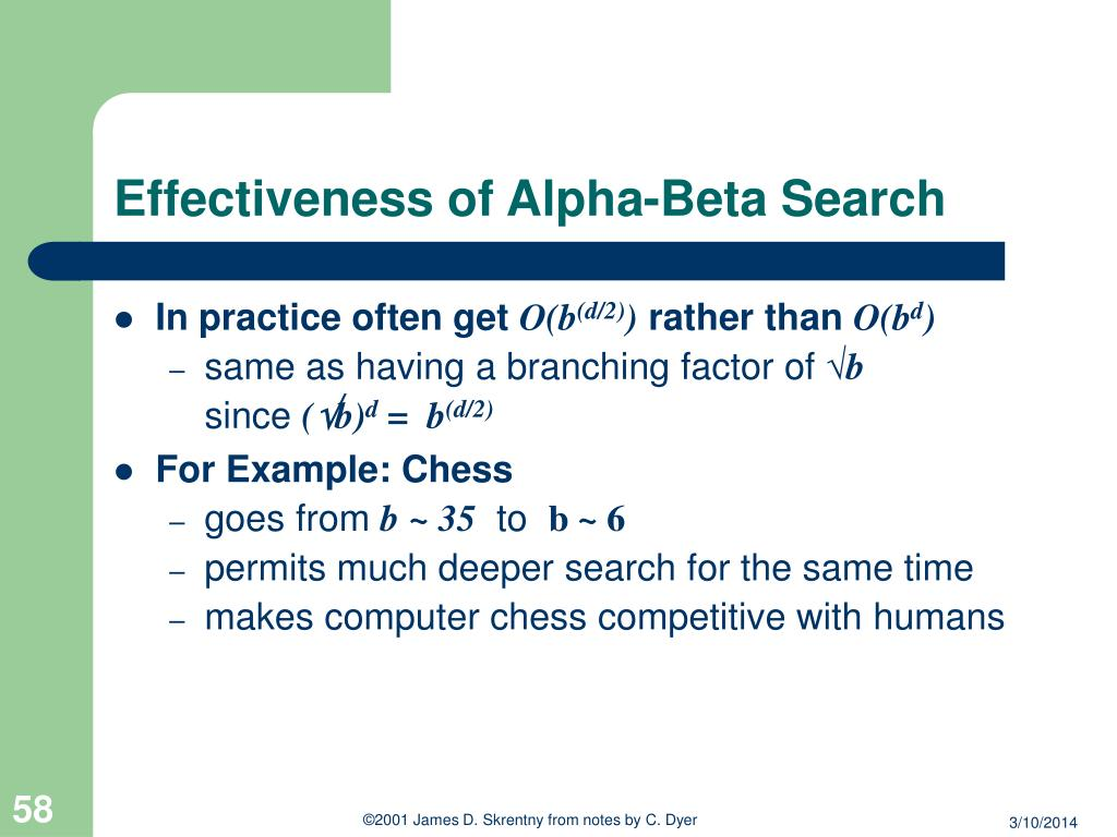 Effectiveness of Alpha-Beta Search