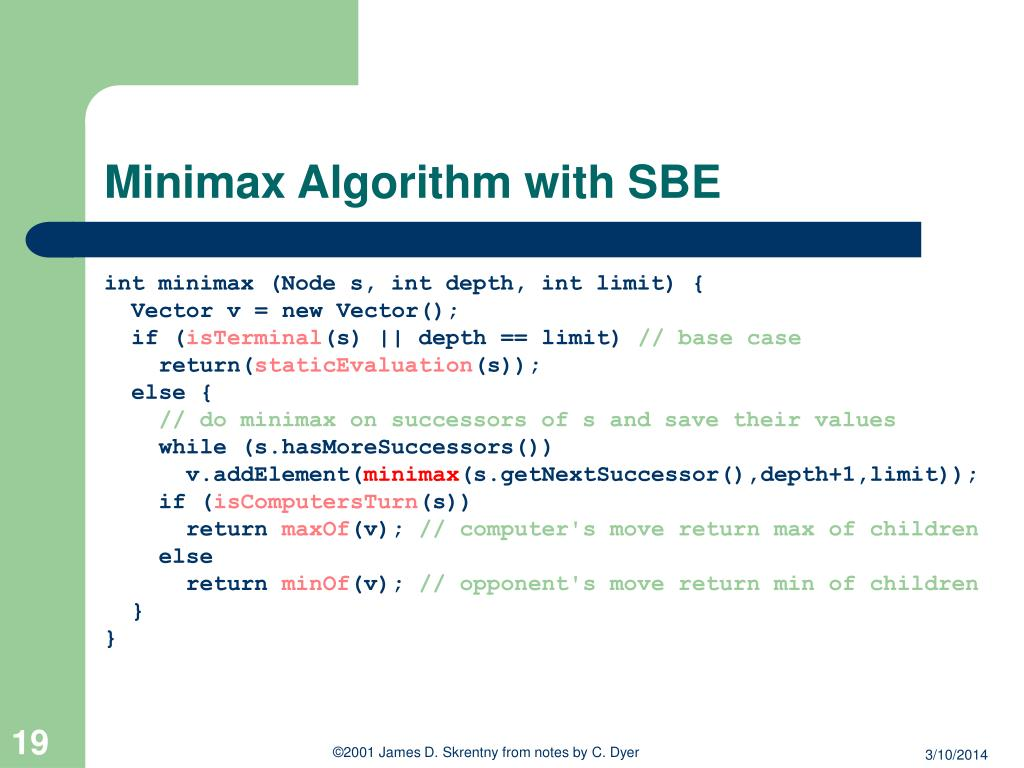 Minimax Algorithm with SBE
