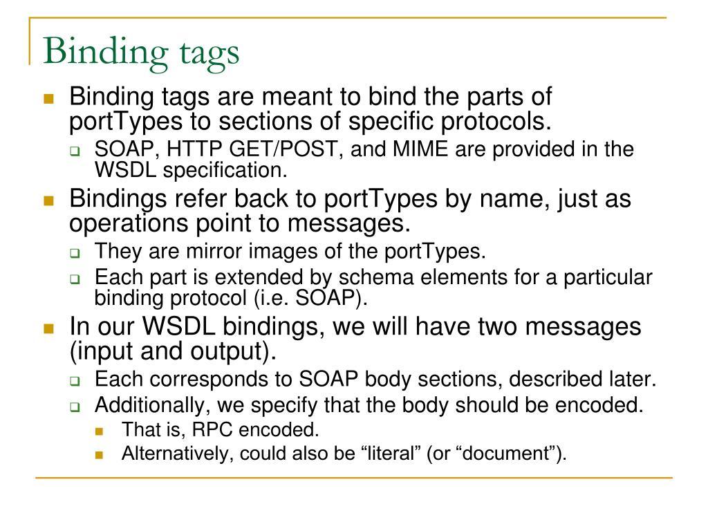 Binding tags