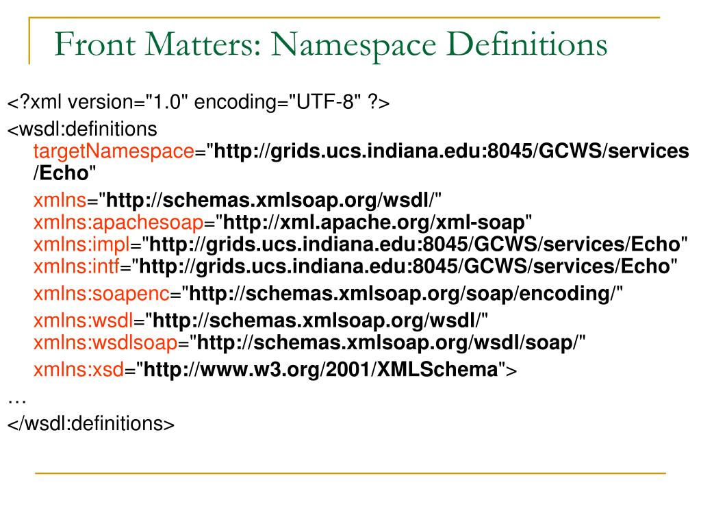 Front Matters: Namespace Definitions
