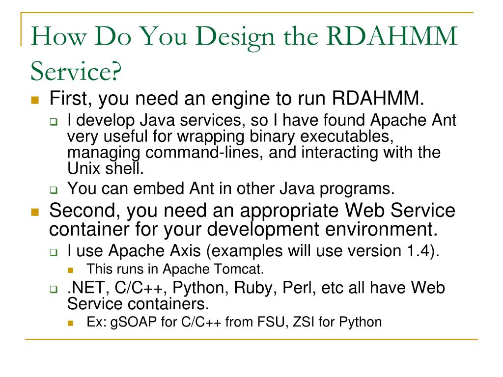 How Do You Design the RDAHMM Service?