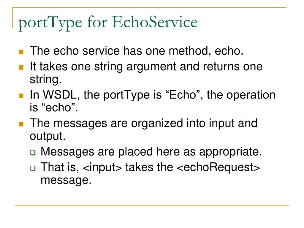 portType for EchoService