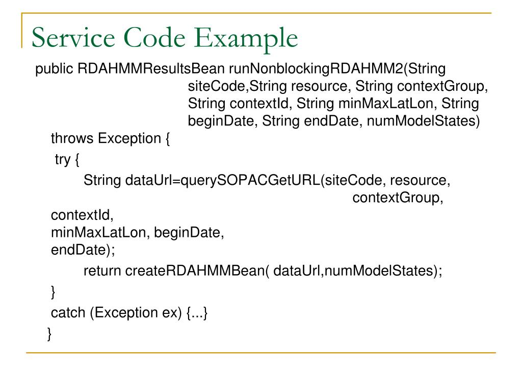 Service Code Example