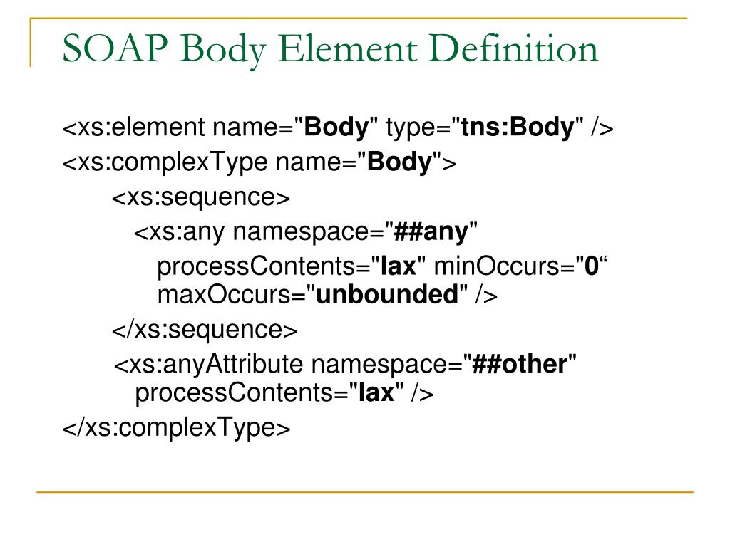 SOAP Body Element Definition