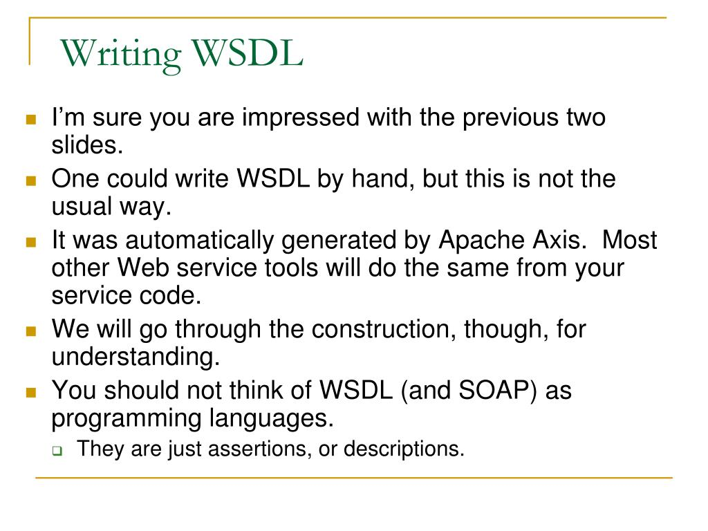 Writing WSDL