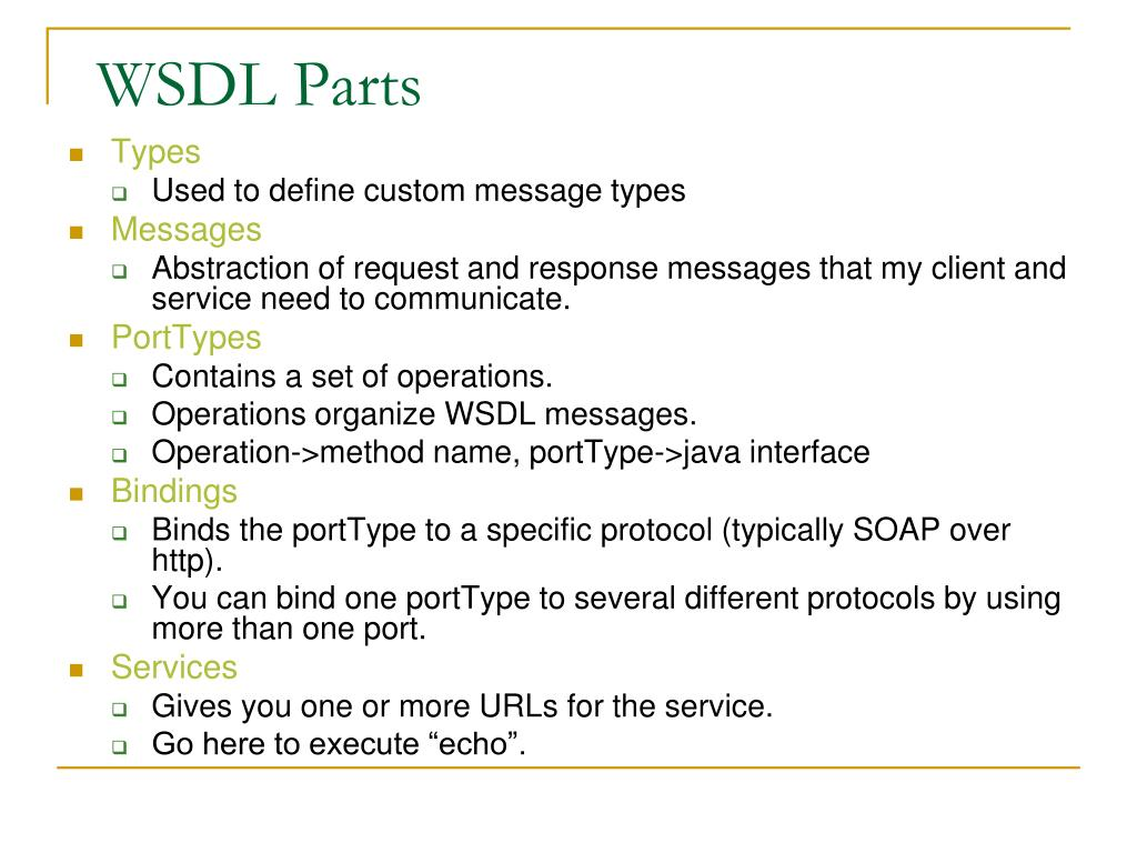 WSDL Parts