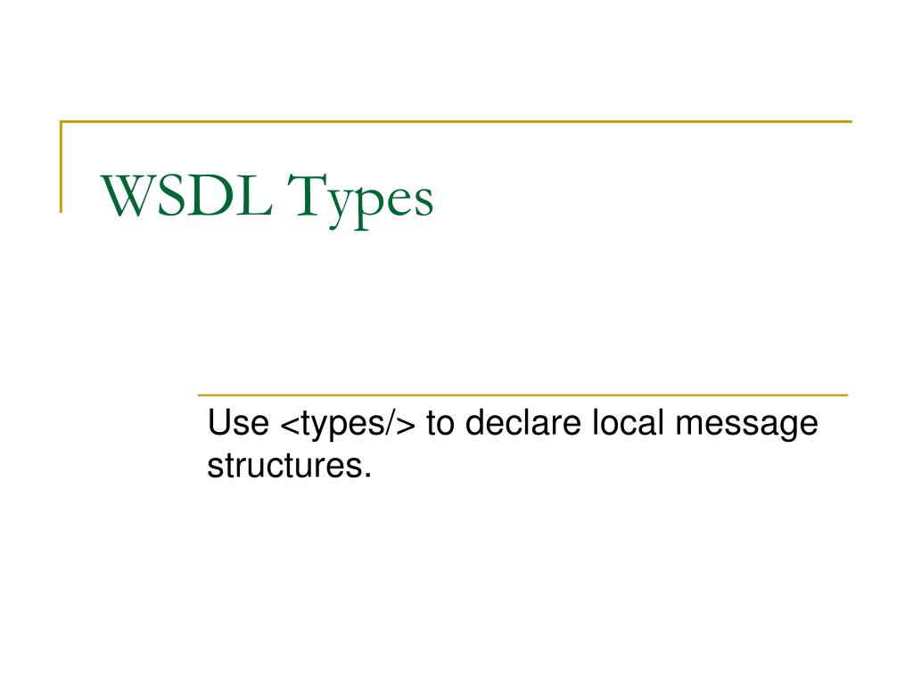 WSDL Types