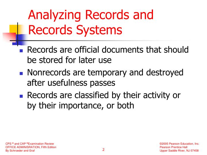 Analyzing records and records systems