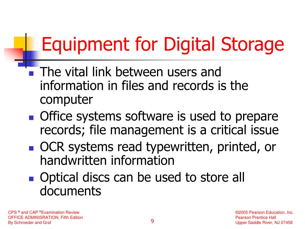 Equipment for Digital Storage