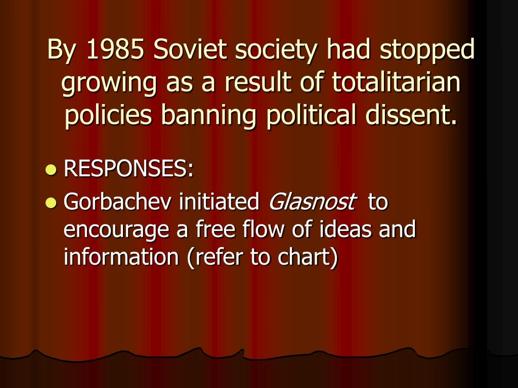 By 1985 Soviet society had stopped growing as a result of totalitarian policies banning political dissent.