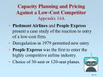 capacity planning and pricing against a low cost competitor appendix 14a