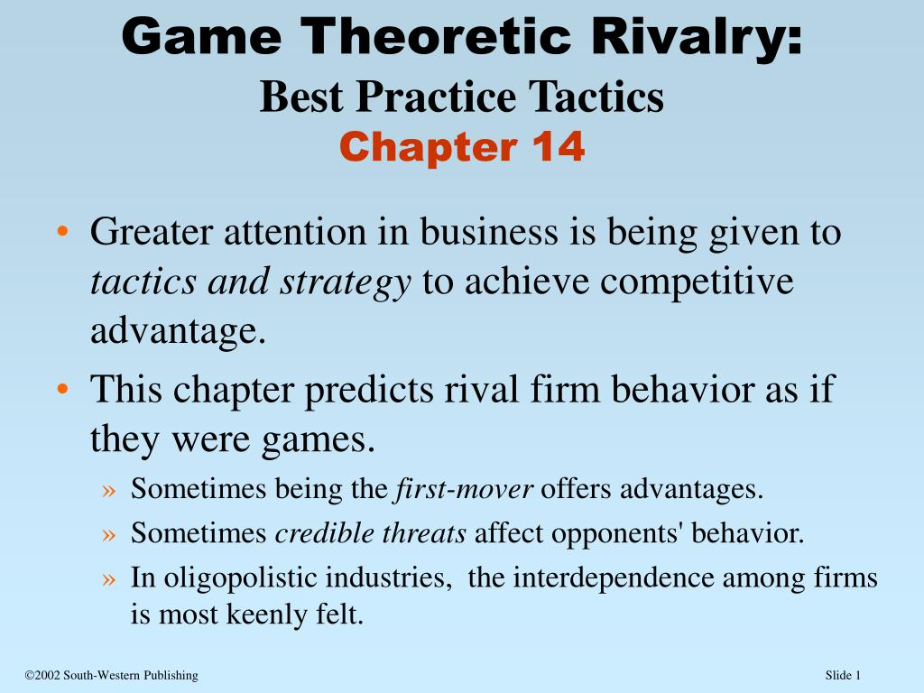 game theoretic rivalry best practice tactics chapter 14