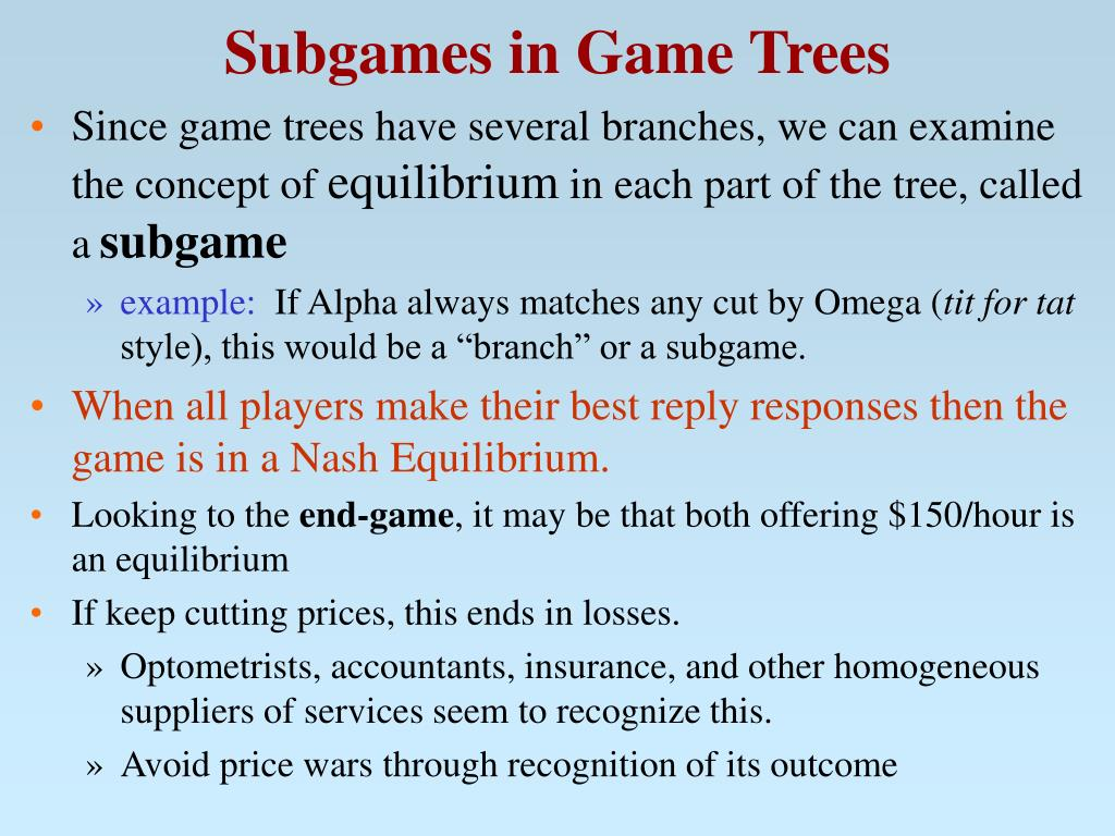 Subgames in Game Trees