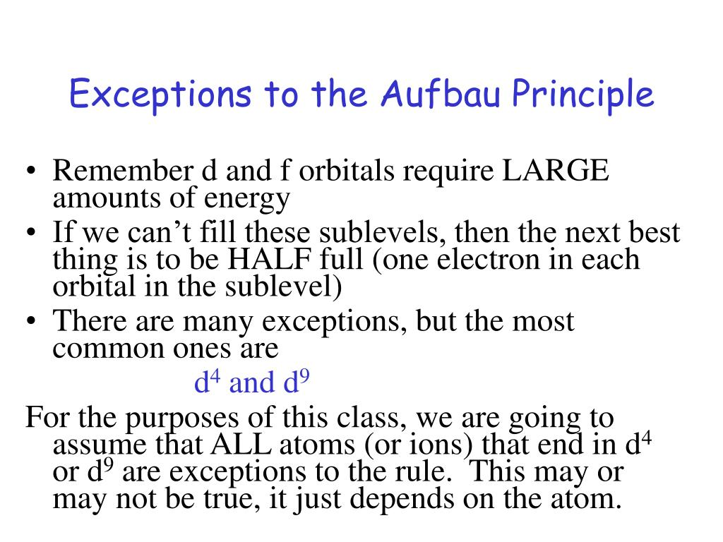 Exceptions to the Aufbau Principle