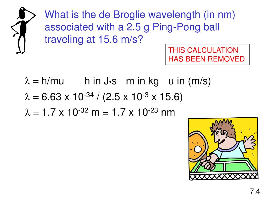 What is the de Broglie wavelength (in nm) associated with a 2.5 g Ping-Pong ball traveling at 15.6 m/s?
