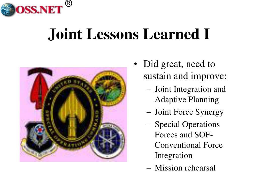 Joint Lessons Learned I