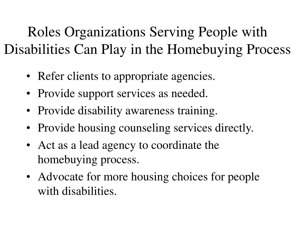 Roles Organizations Serving People with Disabilities Can Play in the Homebuying Process