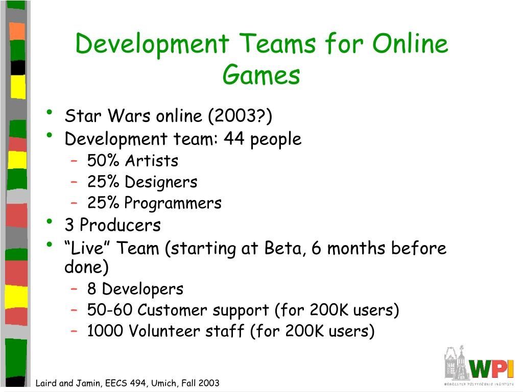 Development Teams for Online Games