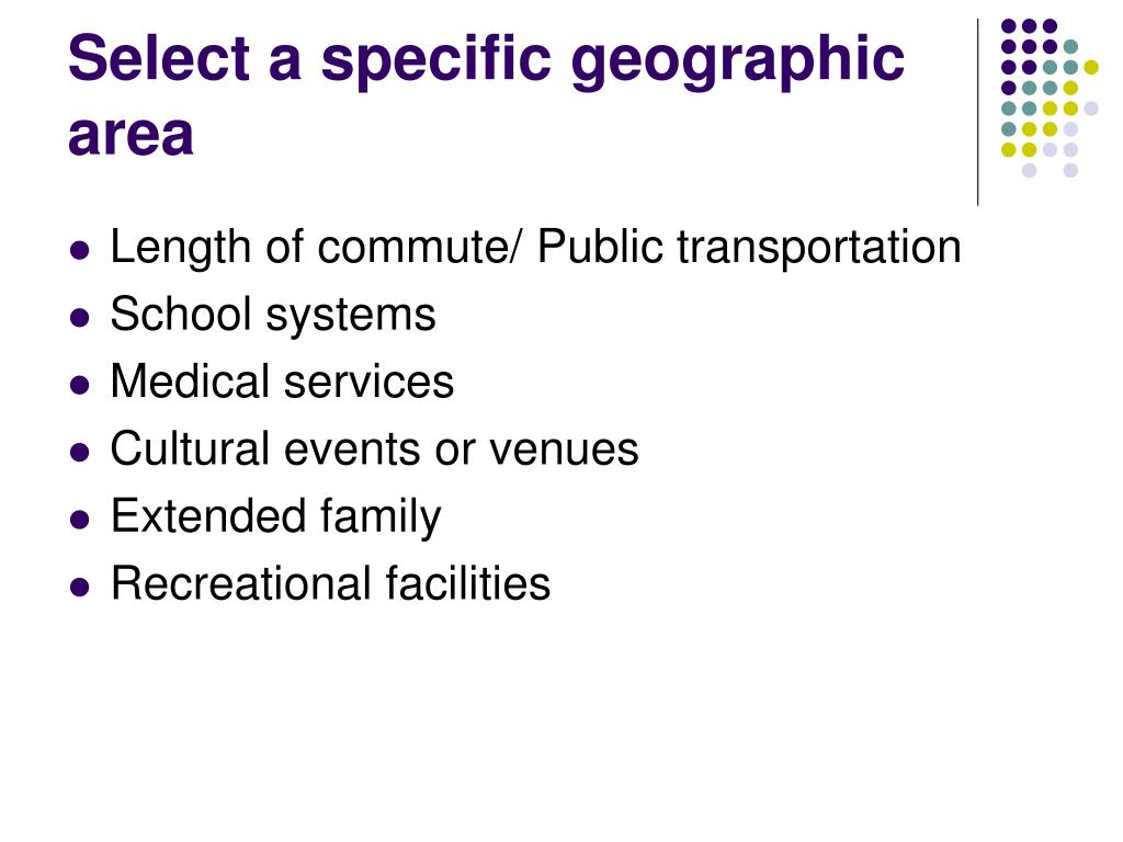 Select a specific geographic area