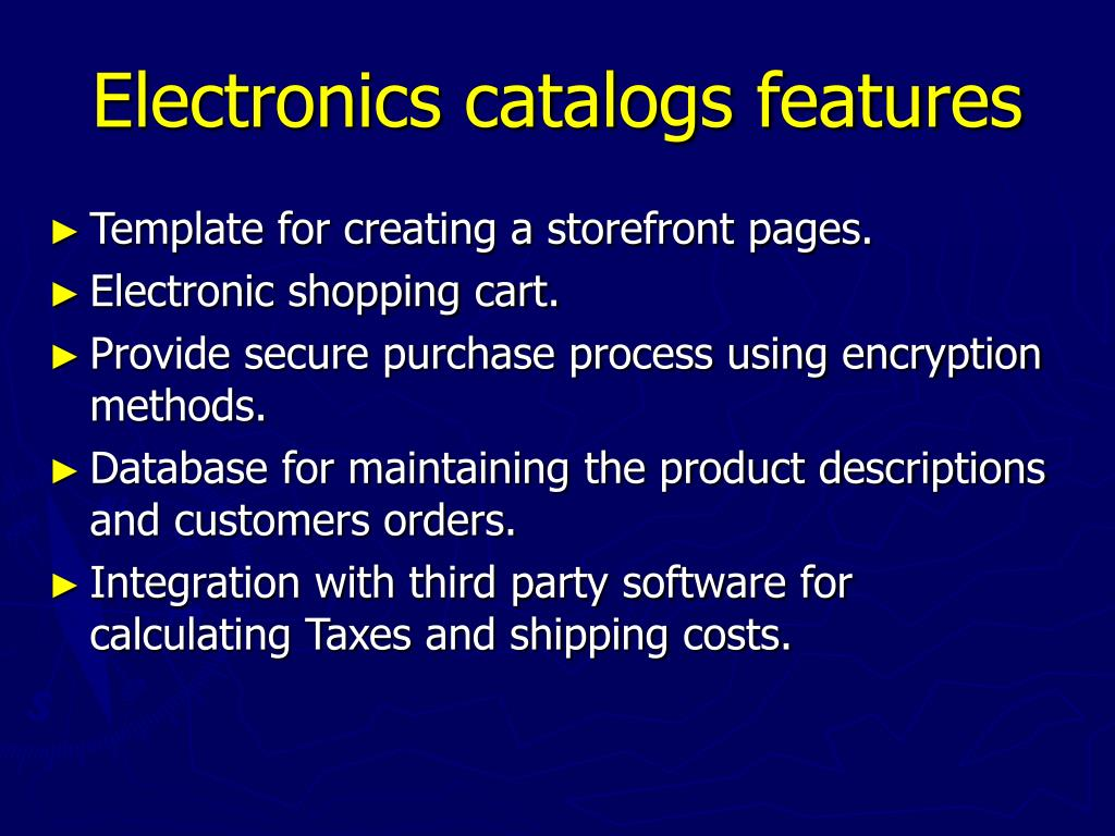 Electronics catalogs features