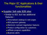the major ec applications their functionalities10