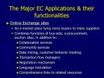 the major ec applications their functionalities13