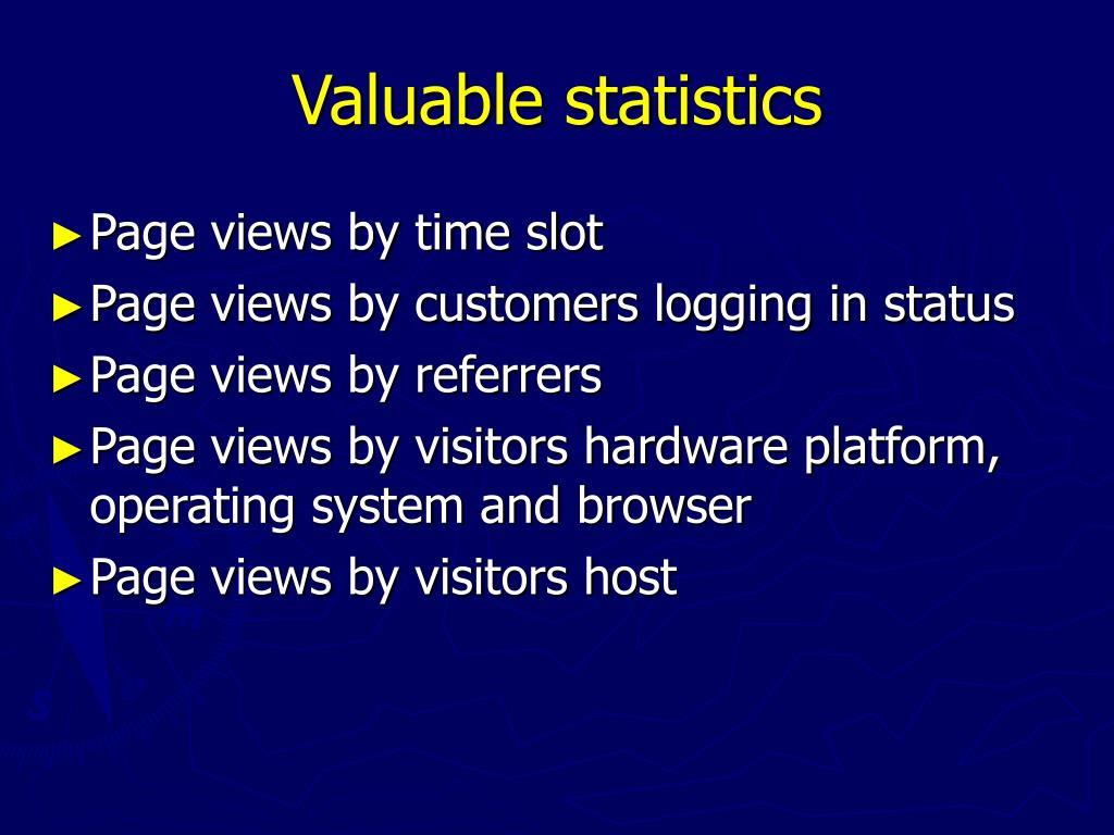 Valuable statistics
