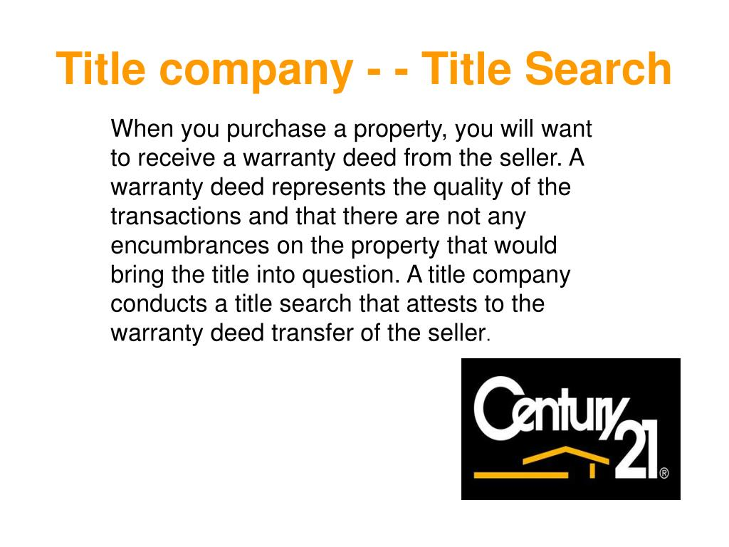 Title company - - Title Search