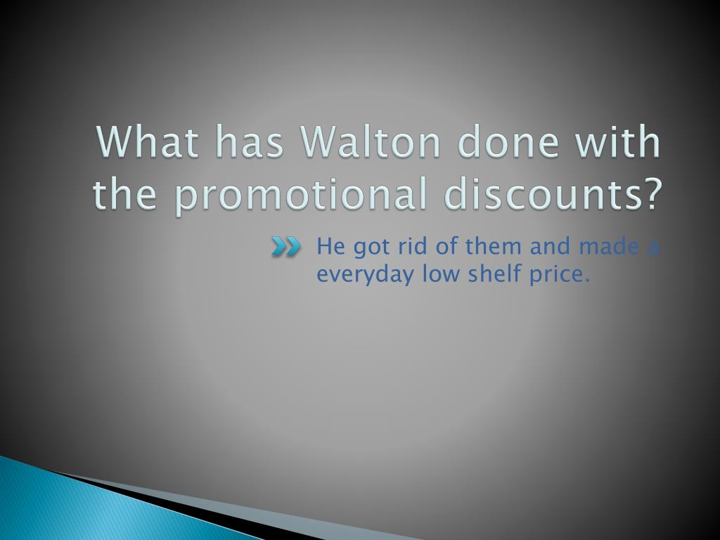What has Walton done with the promotional discounts?
