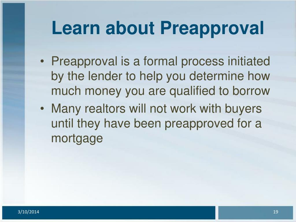 Learn about Preapproval