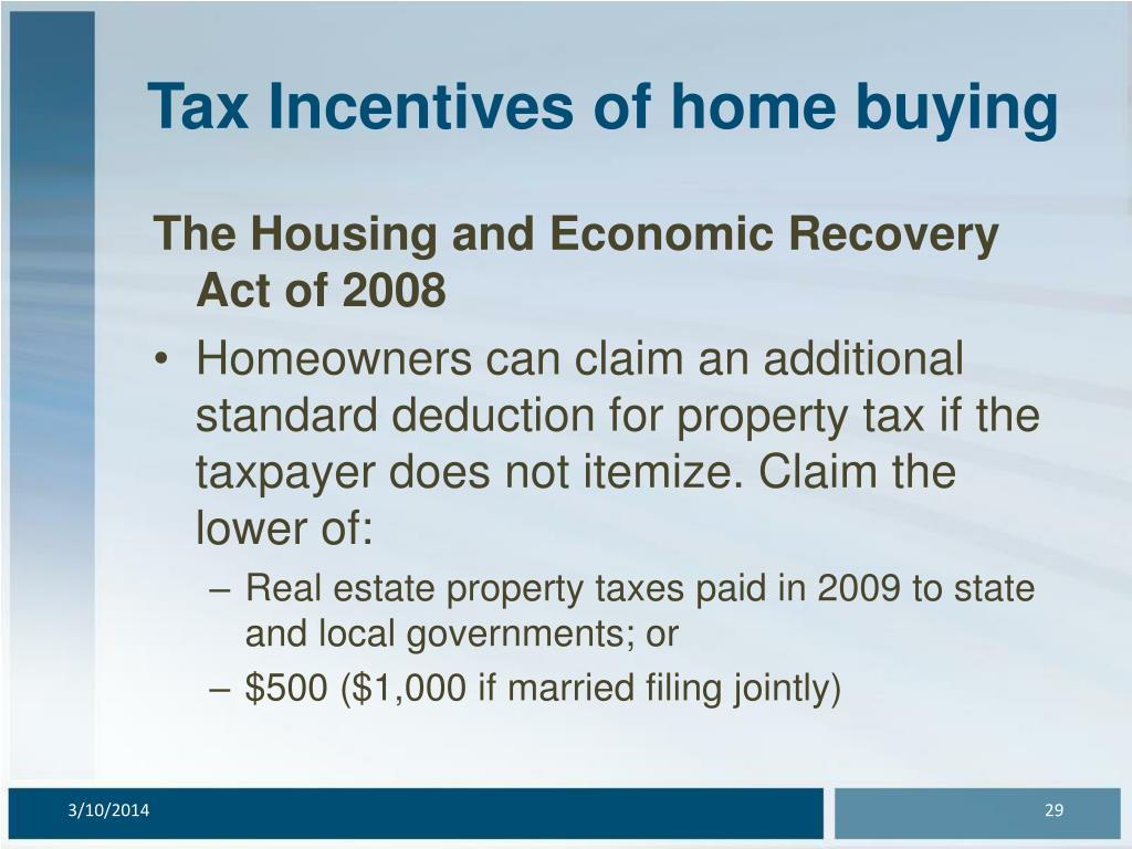 Tax Incentives of home buying