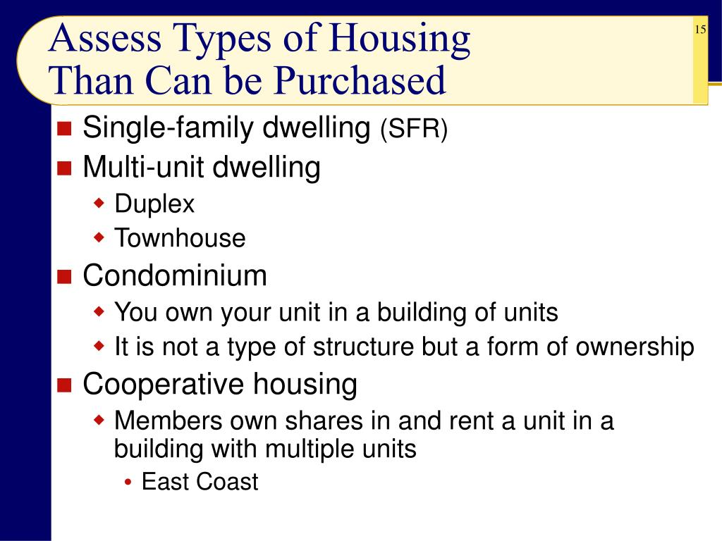 Assess Types of Housing