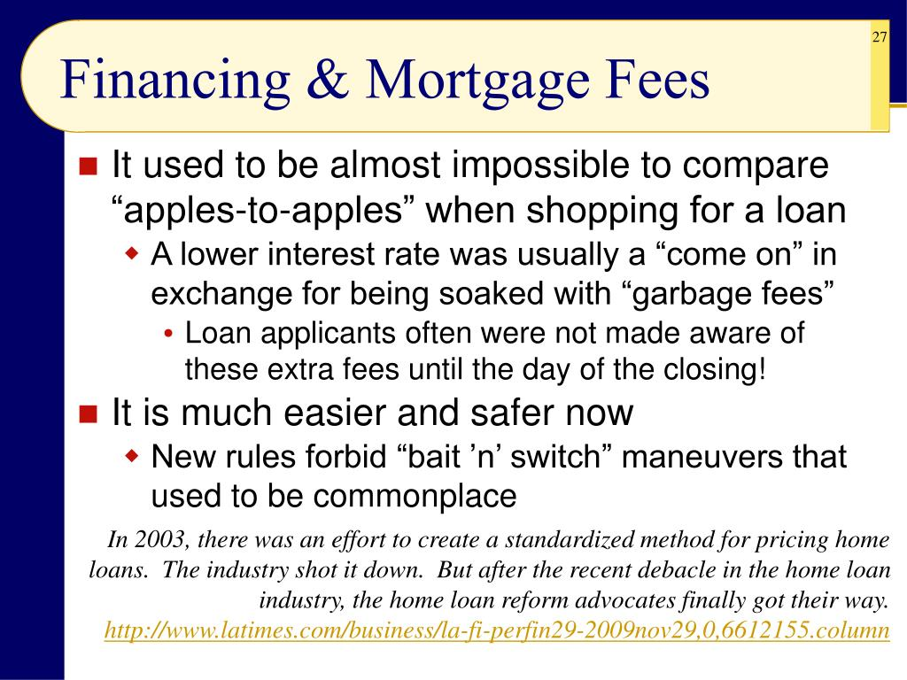 Financing & Mortgage Fees