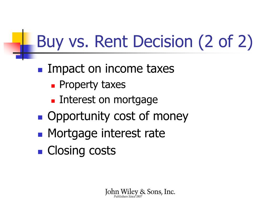 Buy vs. Rent Decision (2 of 2)