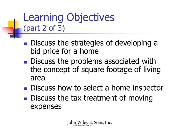 Learning objectives part 2 of 3