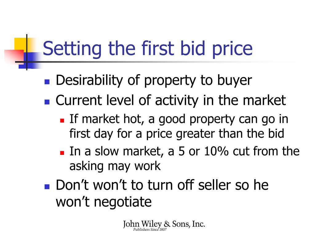 Setting the first bid price