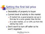 setting the first bid price