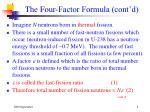 the four factor formula cont d