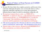 typical values of four factors in candu