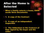 after the home is selected