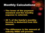 monthly calculations
