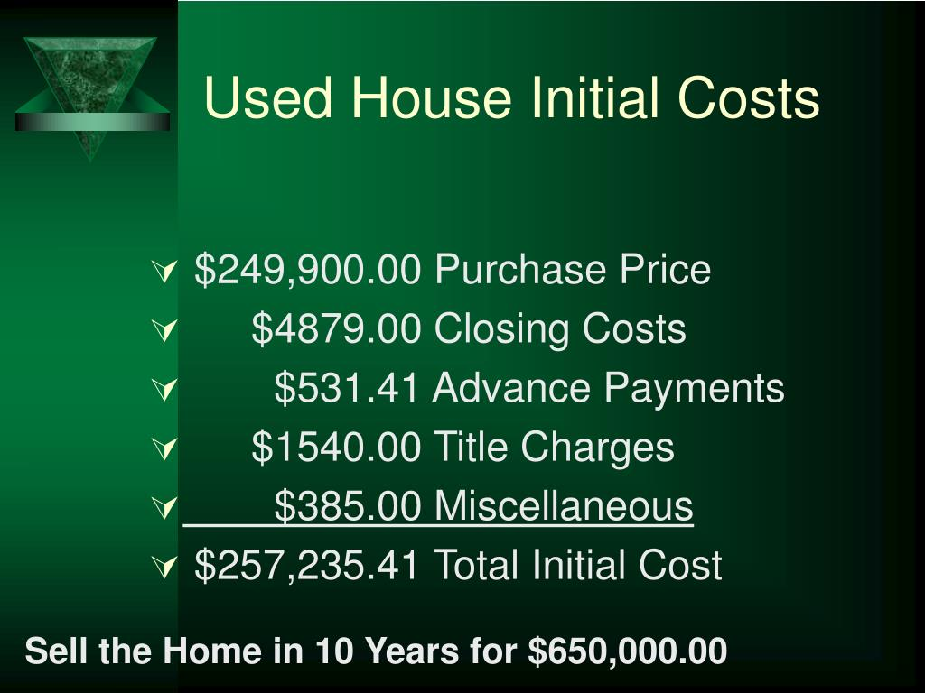 Used House Initial Costs