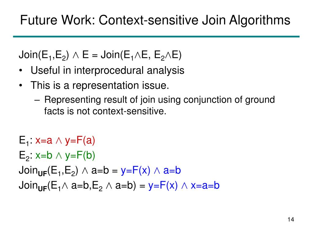 Future Work: Context-sensitive Join Algorithms