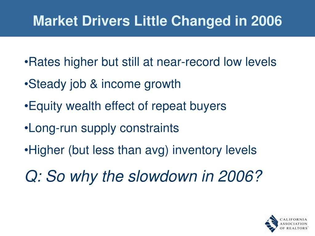 Market Drivers Little Changed in 2006