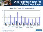 wide regional differences in foreclosure rates