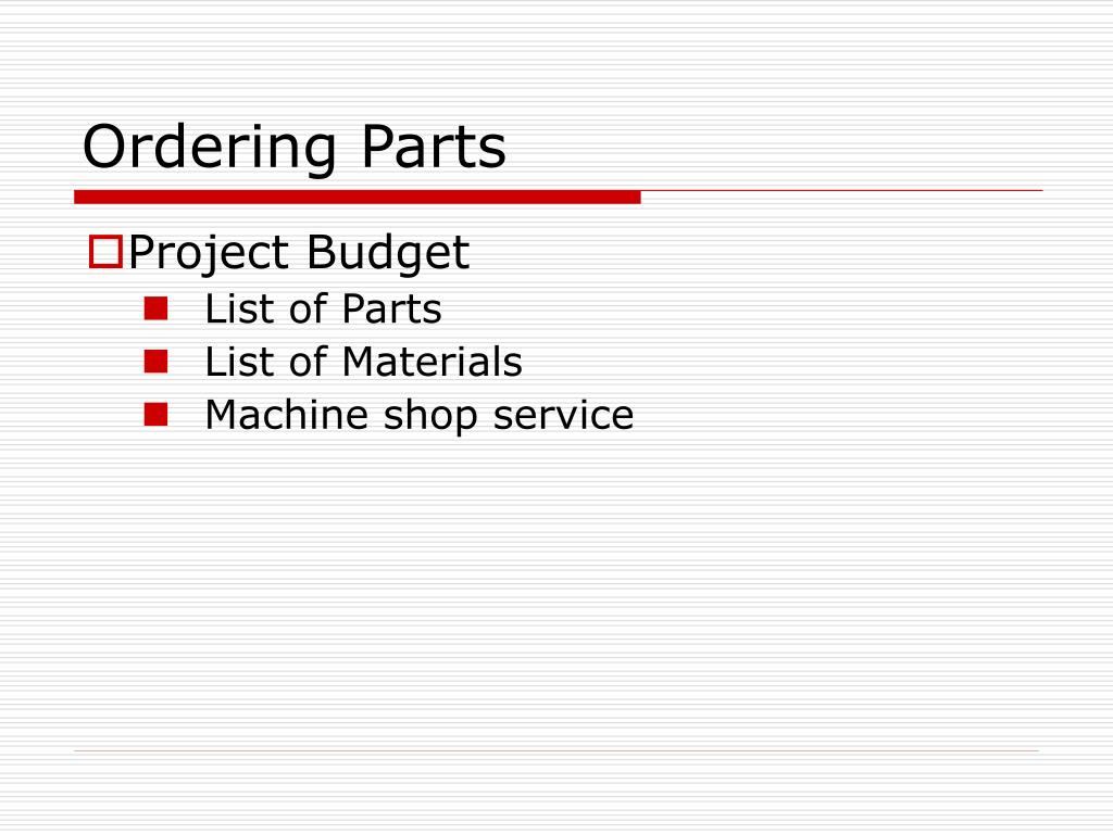 Ordering Parts